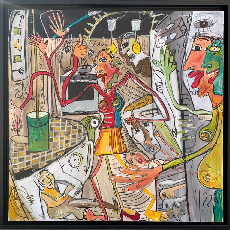 Martine coloos - La femme et ses tâches ménagère - 100x100-min